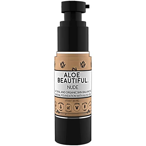 Organic Liquid Mineral Foundation Makeup With Aloe - All Natural Vegan Gluten Free Ingredients - Made In USA, Nude (Best Vegan Makeup Foundation)