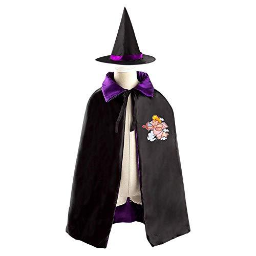 69PF-1 Halloween Cape Matching Witch Hat Cupid Baby Wizard Cloak Masquerade Cosplay Custume Robe Kids/Boy/Girl Gift Purple -