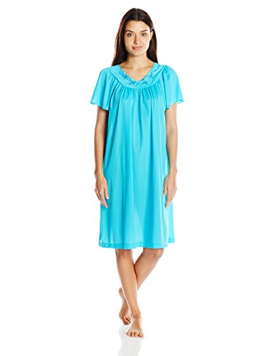 Shadowline Women's Petals 40 Inch Short Flutter Sleeve Waltz Gown, Turquoise, Large