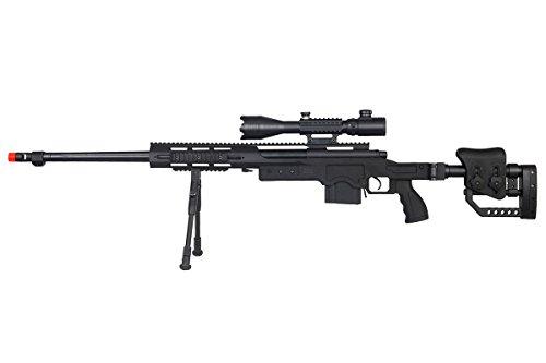 Well MB4411BAB2 Rifle Airsoft de acción de perno de resorte con visor iluminado y bípode (negro)
