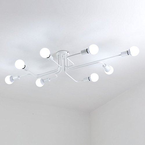 (Aero Snail Retro White Creative Metal Flush Mount 8-Light Cafe Bar Ceiling Lamp Chandelier Lighting Fixture (Arm Wires PRE-Connected))