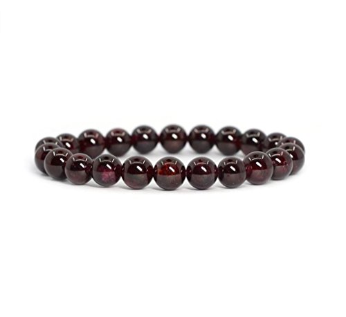 Natural Garnet Gemstone Bracelet 7 inch Stretchy Chakra Gems Stones Healing Crystal Great Gifts (Unisex) GB8-8