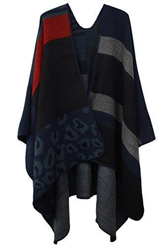 VamJump Women Winter Cashmere Oversized Blanket Poncho Cape Shawl Cardigan Coat, Blue, onesize