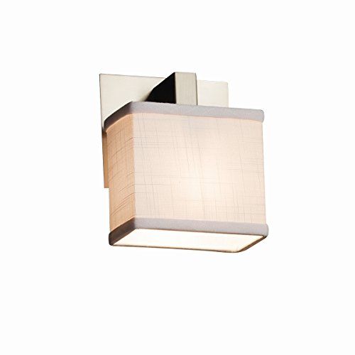 Justice Design Group Lighting FAB-8931-55-WHTE-NCKL-LED1-700 Textile - Modular 1-Light Wall Sconce - Rectangle Shade - White - LED Brushed Nickel