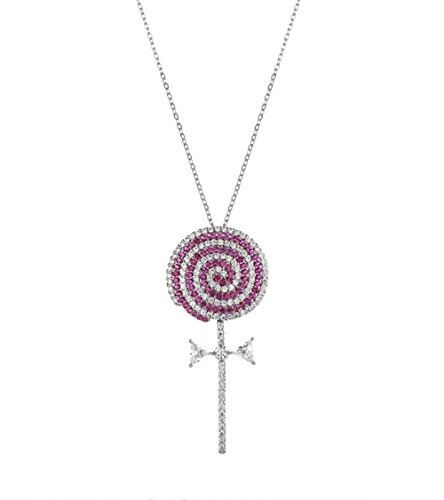 (Gift for Girls White Gold Plated Lollipop Candy Pendant with Hot Pink and Clear Cubic Zirconia Necklace Fashion Jewelry)