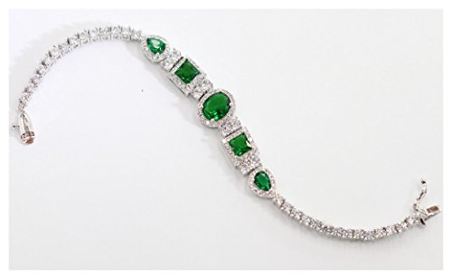 Royal Luxury Geniune Stones bracelet for women Tennis bracelet Certified Pltinum plated (Green)