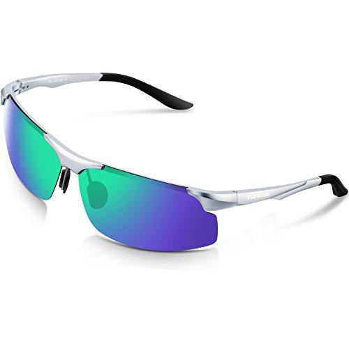 TOREGE Mens Sports Style Polarized Sunglasses Al-Mg Metal Frame Glasses M291(Sliver&Black Tips&Green Lens)