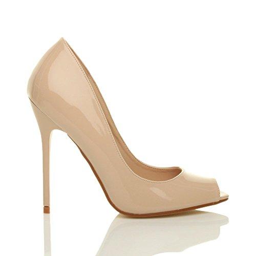 Talon Escarpins Sandales Bout Simple Femmes Beige Ouvert Haut Chaussures Pointure fête Verni dqpRHB