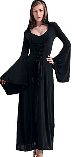 Long Black Witch Dress (COSWE Womens Hooded Robe Classic Witch Long Dress Costume(Color,Black))