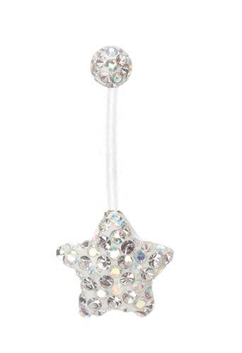 3a436a0e6 Pregnancy ring Swarovski Crystal Ferido Sparkling Aurora ab gems Star Paved  Bioflex all plastic adjustable flexible