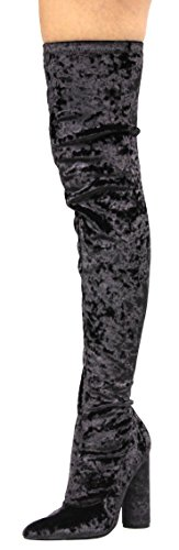 Cape Robbin Paw-27 Crushed Velvet Stretchy Pointy Toe Thigh High Over Knee Block Heel Boot Black 10 (Black Velvet Capes For Womens)