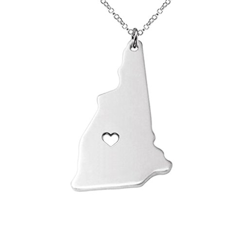 Joyplancraft New Hampshire State Necklace,nh State Necklace,New Hampshire State Charm Necklace,State Shaped Necklace with a Heart (Silver)