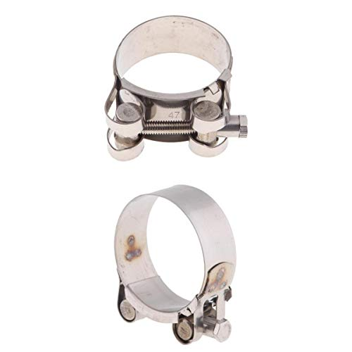 D DOLITY 2pcs 44-47mm 1.75-1.85inch & 52-55mm 2.0-2.15 inch Heavy Duty Exhaust Band Clamp Reolacement for Motorcycle Universal - Stainless Steel