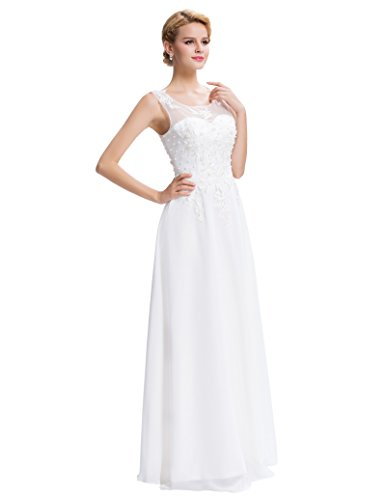 Blanco De Ceremonia Vestido Vuelo Precioso para Encaje Boda GRACE KARIN Maxi Elegante Floral w7Xq0TY