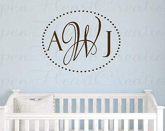 Three Initial Monogram Wall Decal with Polka Dot Oval Border - Modern Monogram Lettering for Nursery or Teen 22H x 28W