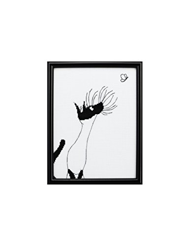 Black and White Embroidery Picture Frame Cross Stitch Patterns of Funny Cat Pictures and Butterfly Picture for Room Decor and Wall - Butterfly Pattern Cross Stitch