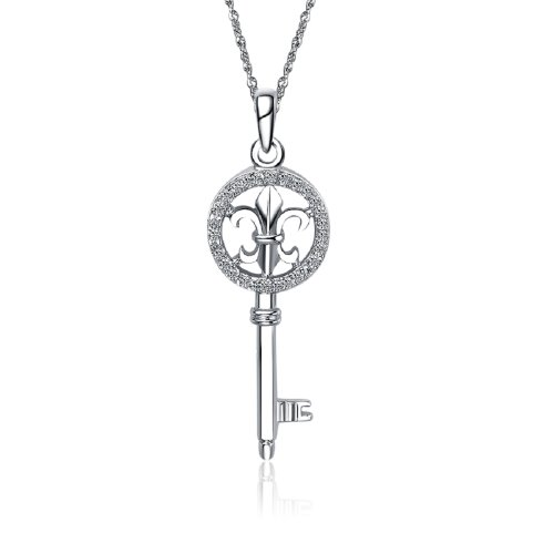 Kappa Kappa Gamma Key Silver Necklace with a 18' Silver Chain (KKG-P005)