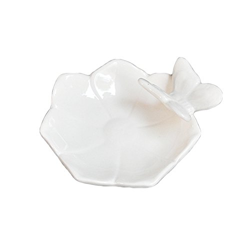Colias Wing Home Decoration Desk Ornaments-Butterfly&Petal Stylish Design Ceramic Trinkets Tray Necklace Earrings Rings Stand Display Organizer Holder Jewelry Holder Decor Dish Plate-White