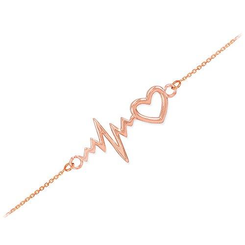 Dainty 14k Rose Gold Heartbeat Bracelet, 7.5″ Adjustable to 8″