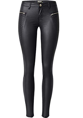 PU Leather Pants for Women Sexy Tight Stretchy Rider Leggings Black 8-10 ()