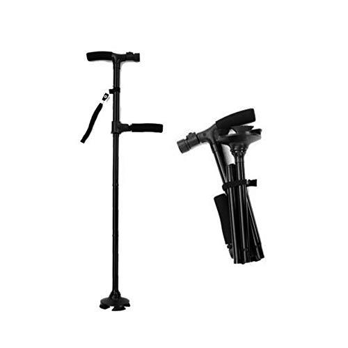 [보행보조재활지팡이]  접이식 자립 식 4 점 지팡이 LED 라이트 탑재 가볍고 튼튼한 신축성있는 보조 손잡이 수납 주머니 · 일본어 설명서 포함