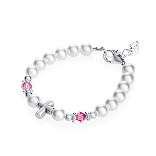 Baptism Sterling Silver Cross Bead with Swarovski White Simulated Pearls Pink Crystals Baby Bracelet (BSCHP_S+)