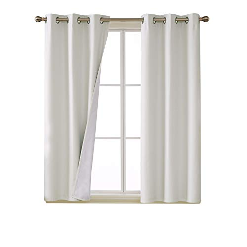 Deconovo 100 Percent White Blackout Curtains with 3 Pass Energy Efficient Thermal Insulated Coating Faux Linen Room Darkening Curtains for Living Room 38 x 45 Inch Set of 2 Curtain Panels ()