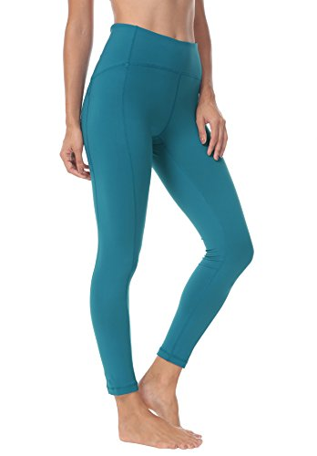 Queenie Ke Women Yoga Leggings Nine Pants Power Flex Mid-Waist Gym Running Tights Size S Color Teal ()