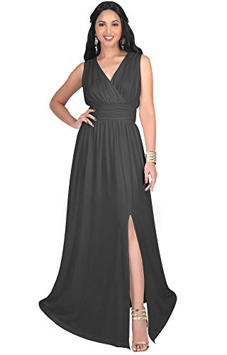 - KOH KOH Plus Size Womens Long Bridesmaid Wedding Guest Cocktail Party Sexy Sleeveless Summer V-Neck Evening Slit Day Full Floor Length Gown Gowns Maxi Dress Dresses, Dark Gray Grey 3XL 22-24