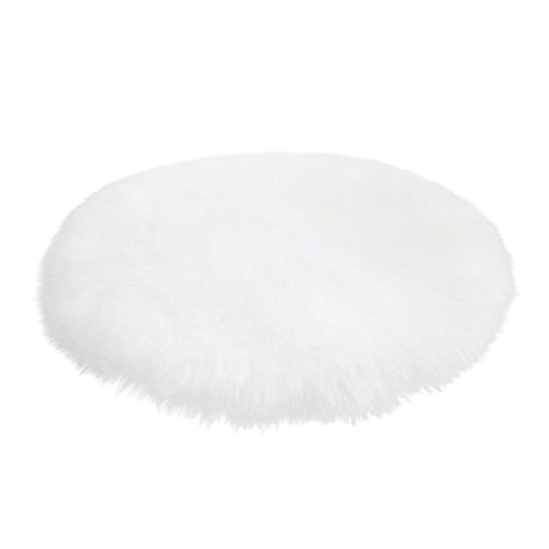 ial Sheepskin Rug Chair Cover Artificial Wool Warm Hairy Carpet Seat Pad Solid Color Bath Mats Perfect Plush Mats for Study, Bedroom, and Living Room (White) ()