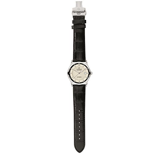Charmex Cannes 6336 30mm Stainless Steel Case Black Calfskin Synthetic Sapphire Women's Watch