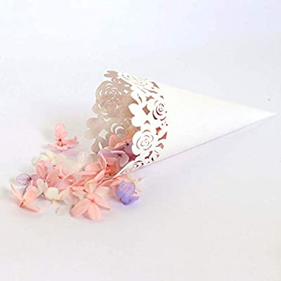 100 PCS Conos de Confeti para Bodas, Blanco, Titulares de Conos de Confeti, Caja de Amor Romántica con Corte de Láser Color de Rosa para El ...