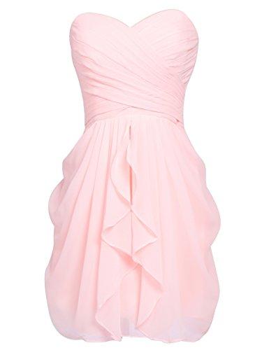 Rosa Schulter Abendkleider Abschlussballkleider Ein Ballkleid 247 Faltenrock Mini Clearbridal Damen CSD427 Chiffon xBappg