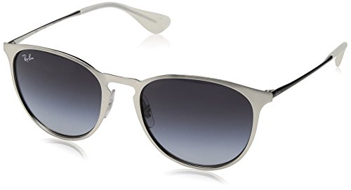 Ray-Ban Erika Metal Round Sunglasses, Brusched Silver, 54 - Erika Ban Sunglasses Round Ray
