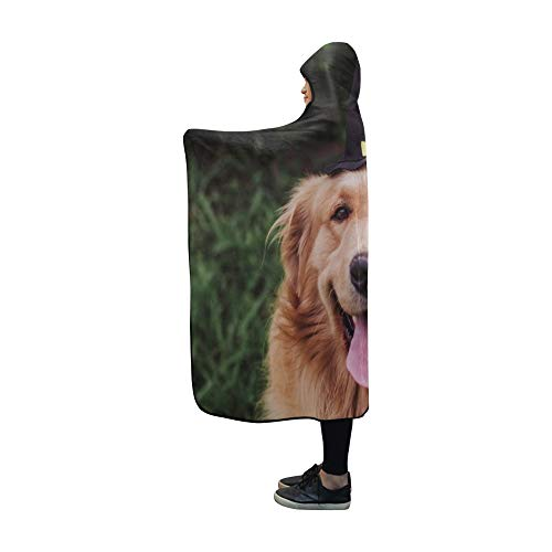 YUMOING Hooded Blanket Golden Retriever Witch Blanket 60x50 Inch Comfotable Hooded Throw Wrap]()