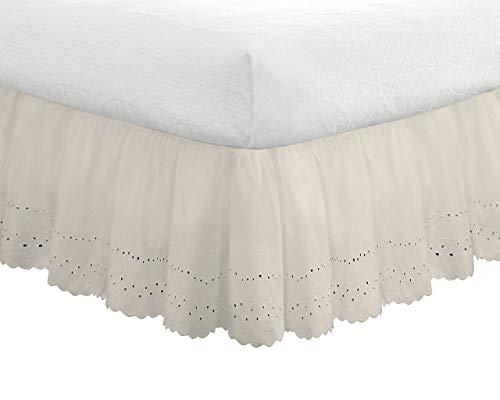 Eyelet Ruffled Bedskirt - Ruffled Bedding with Gathered Styling -14
