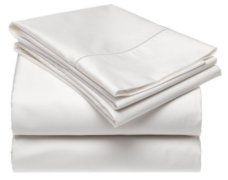 Solid White 300 Thread Count Twin Extra Long size Sheet Set 100 % Cotton 3pc Bed Sheet set (Deep Pocket)Twin XL By sheetsnthings