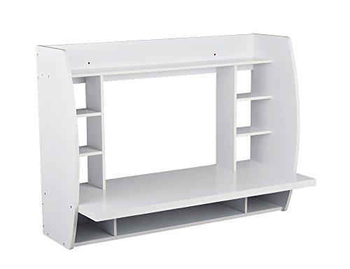 Utopia Alley Melamine Floating Wall Mount Desk with Shelving, Storage Nooks, White