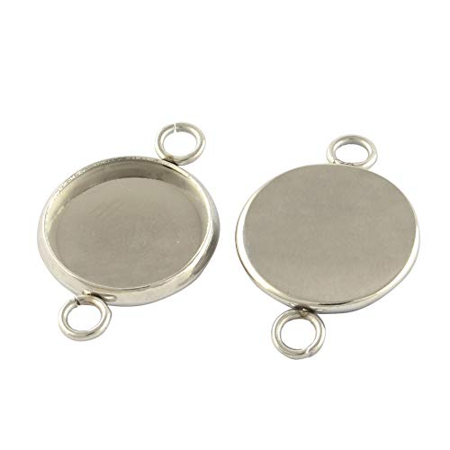 - UNICRAFTABLE 200pcs 8mm Stainless Steel Round Blank Bezel Pendant Trays Cabochon Settings Pendant Blanks Charm Link Connector Double Holes for Necklace Jewelry Making DIY 17x10x1.5mm Hole 2mm