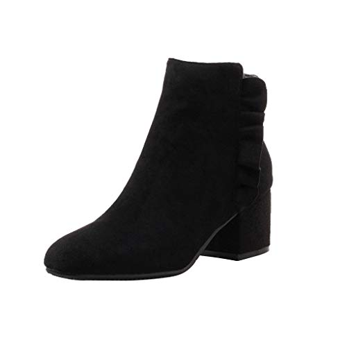 Cenglings Women's Plus Size Flock Square Toe High Chunky Heel Booties Zipper Bare Boots Ruffle Ladies Ankle Booties
