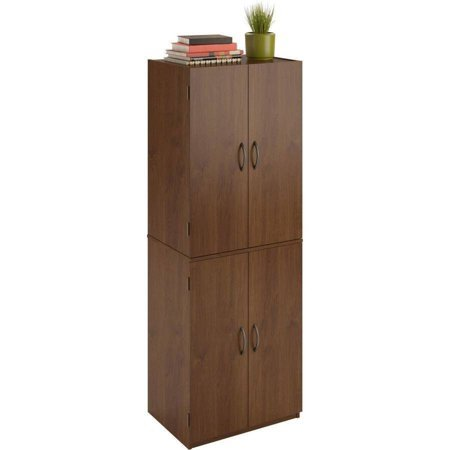 Tall Storage Cabinet with 4 Doors Pantry Cupboard Has Two Adjustable Shelves and One Fixed Shelf. Guaranteed. Kitchen Cabinets Store Cookbooks and Pantry Goods. Use in Bedroom or Dorm for Linens, Towels. In the Garage, It's a Utility Supply Closet. (Alder) ()
