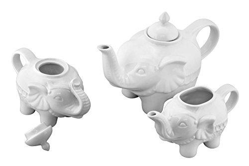 Elephant Sugar - Bia Cordon Bleu Elephant 3 Piece Tea Pot Set - White Porcelain