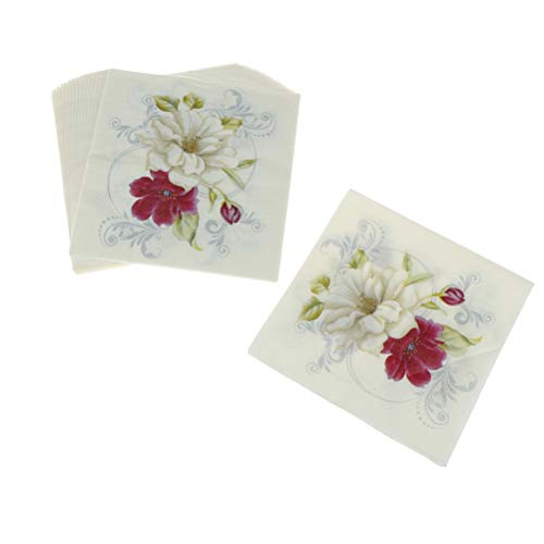 Disposable Party Tableware - Red White Flower Lily Napkins Paper Wedding Party Printed Cocktail Servetten Birthday Serviettes - Tableware Party Disposable