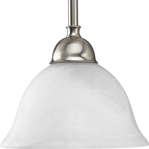 Progress Lighting P5068-09 1-Light Stem Hung Mini-Pendant with Swirled Alabaster Glass, Brushed Nickel - Brushed Nickel 100w Stem
