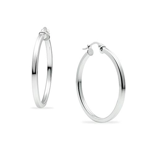 - Polished Sterling Silver Square Tube Round Hoop Earrings 2mm for Women & Girls 30mm Diameter