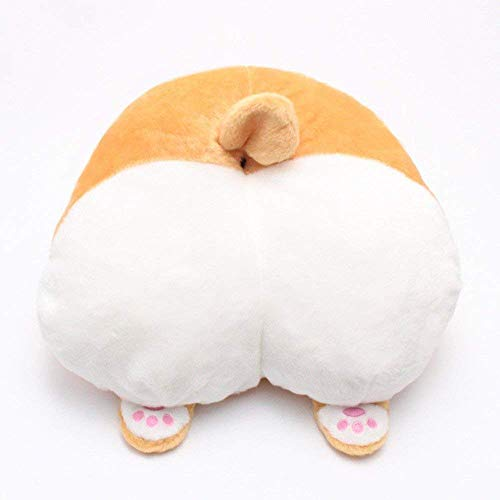Cute Corgi Butt Throw Plush Blanket Pets Puppy Neck Rest Pillow Cushion Travel Stuffed Toy Gifts Animals Bottom Car Decorative Headrest Decor Soft Toys Sofa Chair Seat Christmas Birthday Halloween Gif -