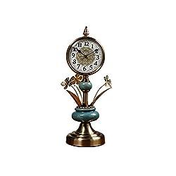 ZYear Vintage High Table Clock Ceramic Flower Arrangement Chic Table Clock Decor Bronze
