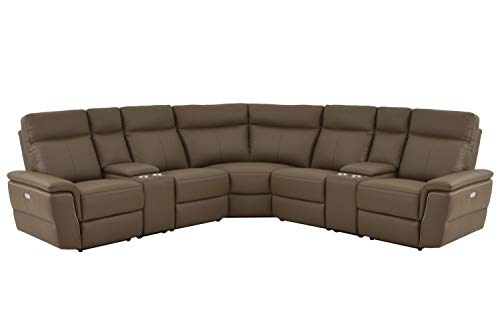 (Obara 7PC Power Sectional with Power Armless Recliner - in Top Grain Leather - Brown Taupe- ConfigB )