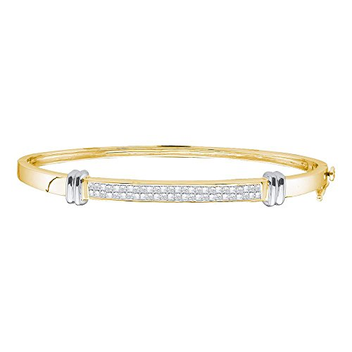 Sonia Jewels 14k Two-Tone Yellow Gold Princess Cut Diamond Bangle Bracelet 1.00 Cttw