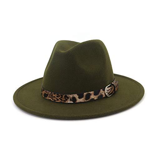 Lisianthus Women's Leopard Classic Wide Brim Felt Fedora Panama Hat Olive Green